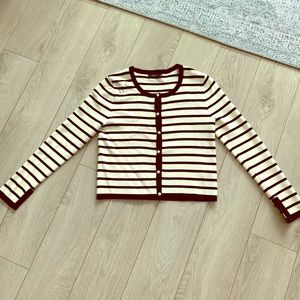 Striped Cardigan with Pearls. Size Medium